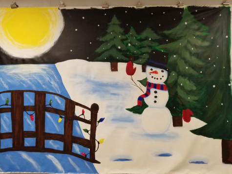 NAHS created a holiday mural for the Annual Interscholastic Holiday Mural Art Competition at Miller Plant Farm. The Dallastown mural features a snowman, bridge, and a sunrise