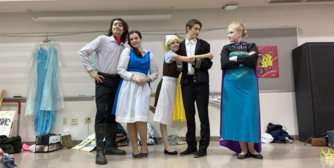 Actors from the Game of Tiaras from left to right are Abi Trembly, Bry Harris, Mackenzie Brooks, Hannah Lancaster, and Logan O